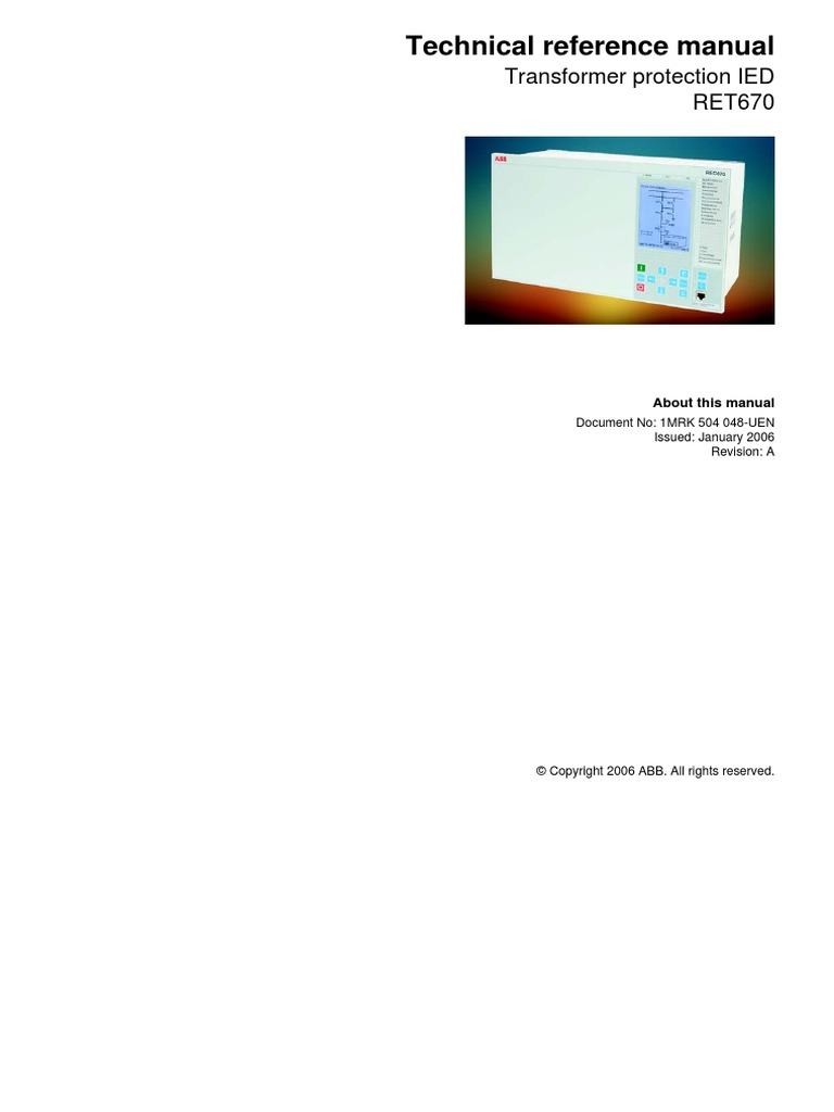 ret670 technical reference manual parameter computer programming rh scribd com