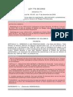 Ley_0776_2002 Actualizacion Del Sistema de Riesgos Profesionales