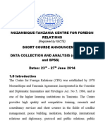 SHORT COURSE ANNOUNCEMENT:      DATA COLLECTION AND ANALYSIS (using STATA and SPSS)