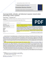 Assesing Beliefs, Attitudes and Behavioral Responses Toward Online Advertising