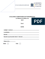 Test 1 Scris Limba Romana, Clasa a II-a, Evaluarea Nationala 2014