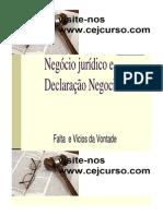 DECLARAÇÃO NEGOCIAL Falta e Vicios Da Vontade2 [Modo de Compatibilidade]