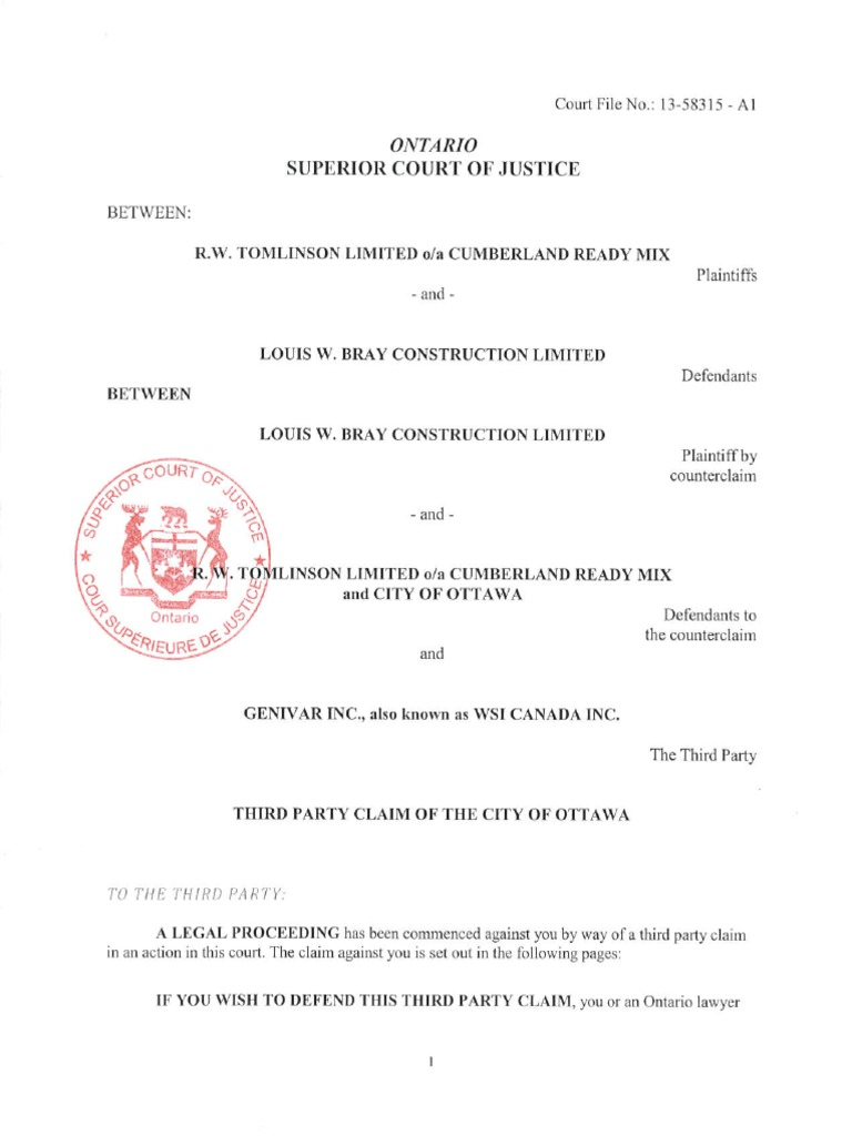 City Lawsuit vs Genivar June 3 2014