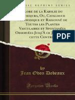 Flore de La Kabylie Du Djurdjura Ou Catalogue Methodique Et Raisonne de 1200118968