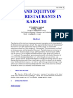Brand Equity of Fast Food Restaurants