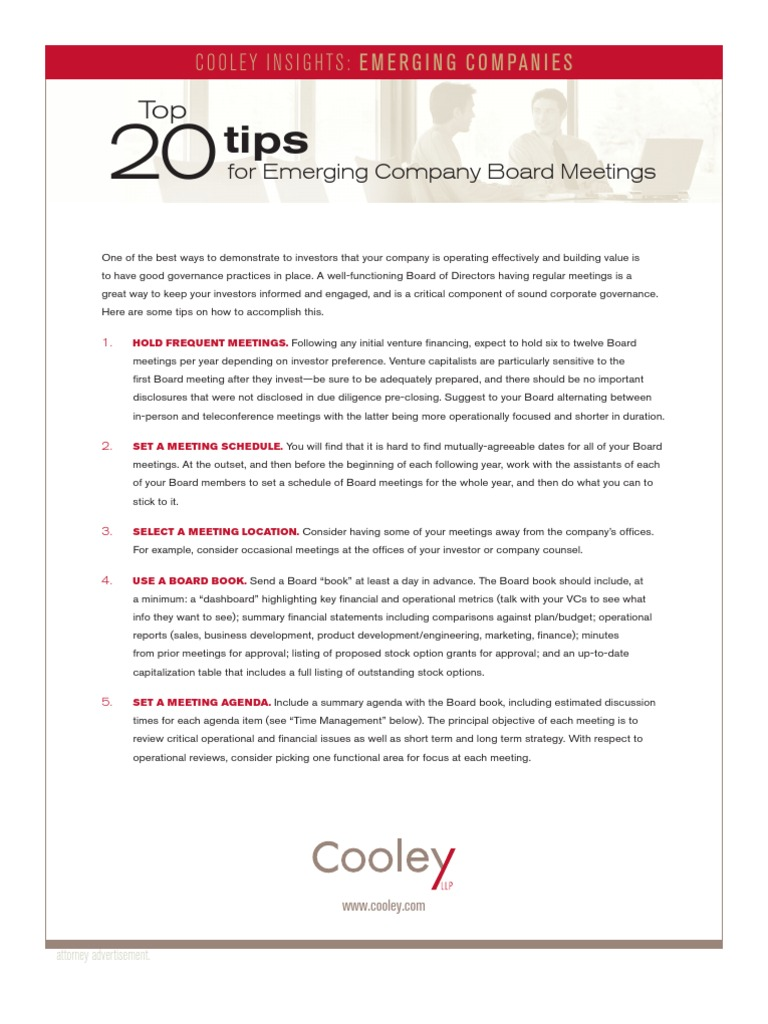 Top 20 Tips for Emerging Company Board Meetings | Board Of