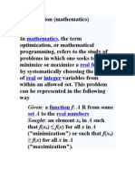 Optimization (Mathematics) in Mathematics, The Term Optimization, Or Mathematical Programming,