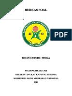 Soal Bidang Studi Fisika Ma Seleksi Tk Kab Kota Kompetisi Sains Madrasah Ksm Nasional 2013