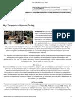High Temperature Ultrasonic Testing