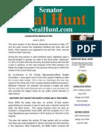 June Newsletter from Senator Neal Hunt
