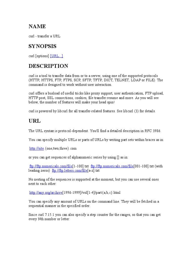 Curl Option   File Transfer Protocol   Hypertext Transfer Protocol