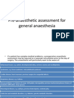 Pre-Anaesthetic Assessment for General Anaesthesia