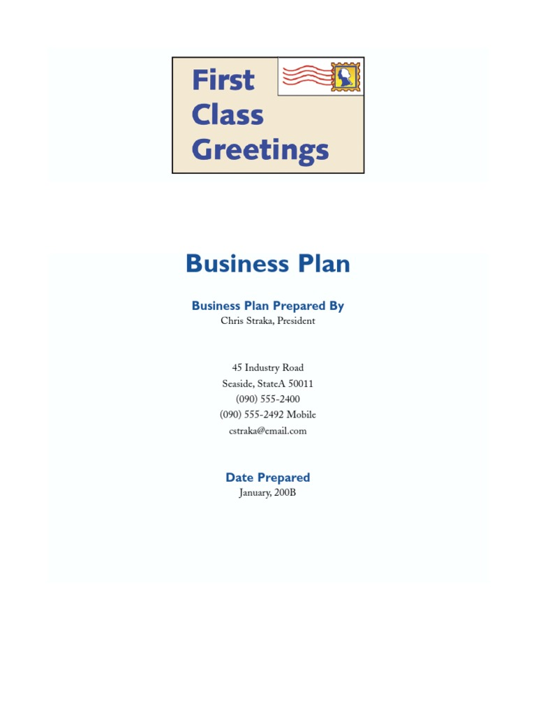 Greeting Card Business Plan Retail Direct Marketing