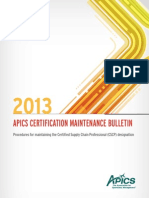 APICS CSCP Certification Maintenance Bulletin 2013