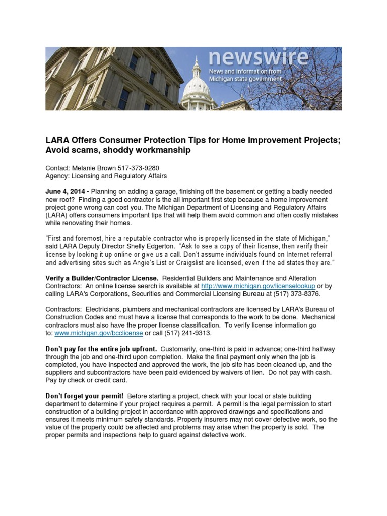 Lara Offers Consumer Protection Tips For Home Improvement Projects Main Circuit Breaker Shut Off Tip Ask The Builder Avoid Scams Shoddy Workmanship Insurance Hvac