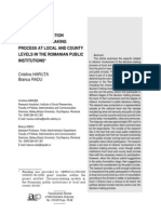Citizen Participation in the Decizion Making Process at Local and County Levels in the Romanian Public Institutions