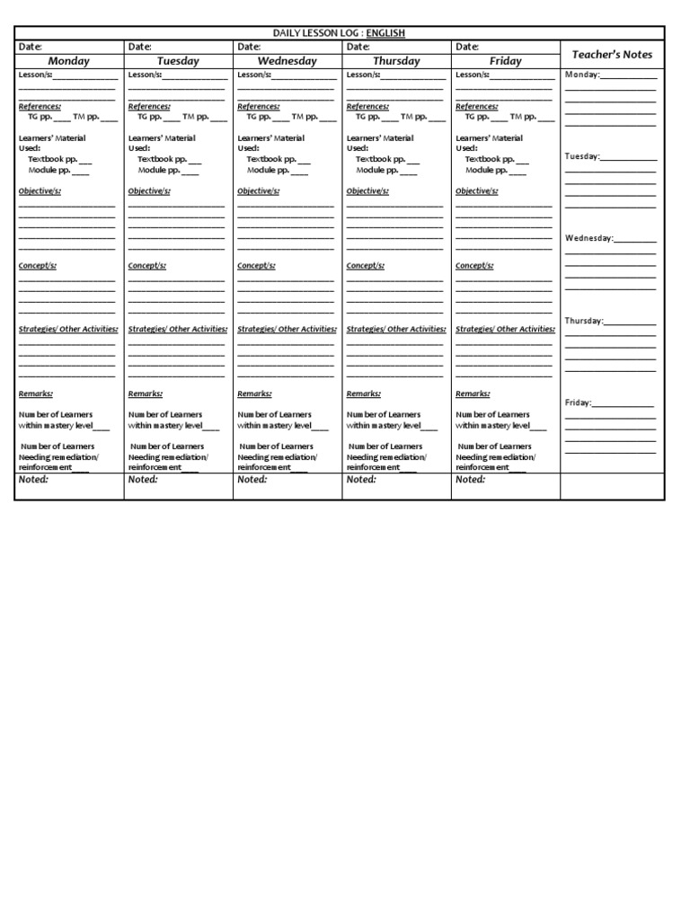 DLL Modified Daily Lesson Log For K 12 Teachers In Public Schools.  Free Daily Lesson Plan Template