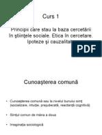 Curs 1. Cunoasterea Comuna Si Cunoasterea Stiintifica. Ipoteze Si Cauzalitate