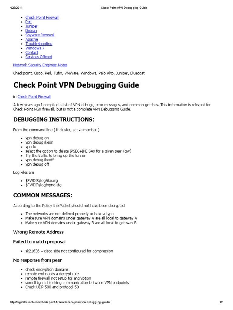Checkpoint vpn debug commands
