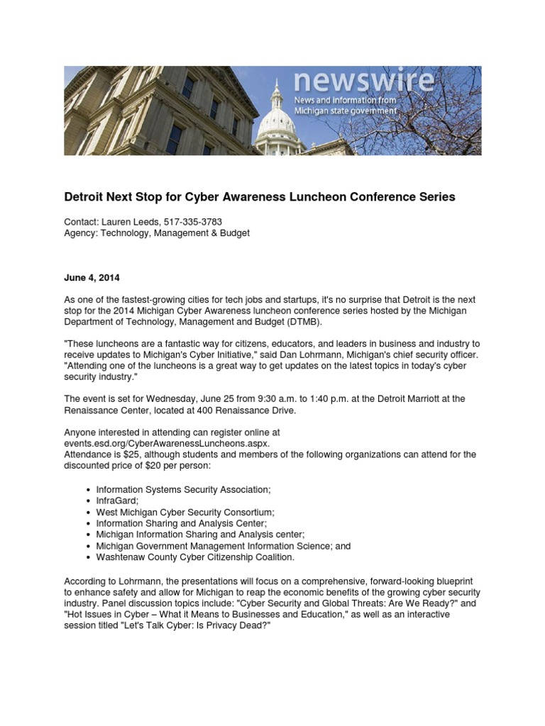 Detroit Next Stop For Cyber Awareness Luncheon Conference Series
