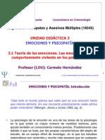 Unidad Didáctica 3. Emociones y Psicopatía. 3.1