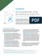 Integrating ESG in PE