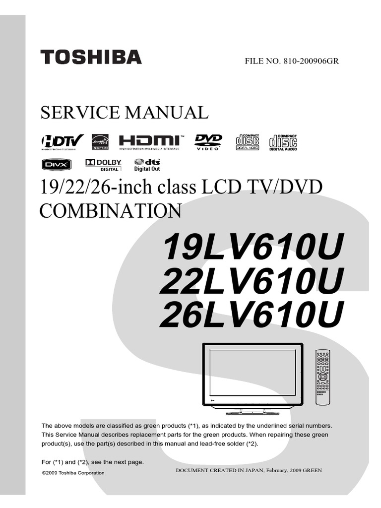 service manual for toshiba tv/dvd combo 26lv610u | cable television |  compact disc
