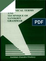 Technical Terms and Technique of Sanskrit Grammar (Kshitish Chandra Chatterji)