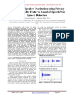 An Efficient Speaker Diarization using Privacy Preserving Audio Features Based of Speech/Non Speech Detection