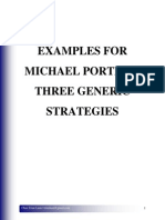 Examples for Michael Porter's Three Generic Strategies