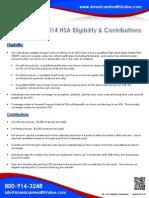 2014 HSA Eligibility & Contribution Limits
