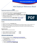 HSA Employer Reference Sheet