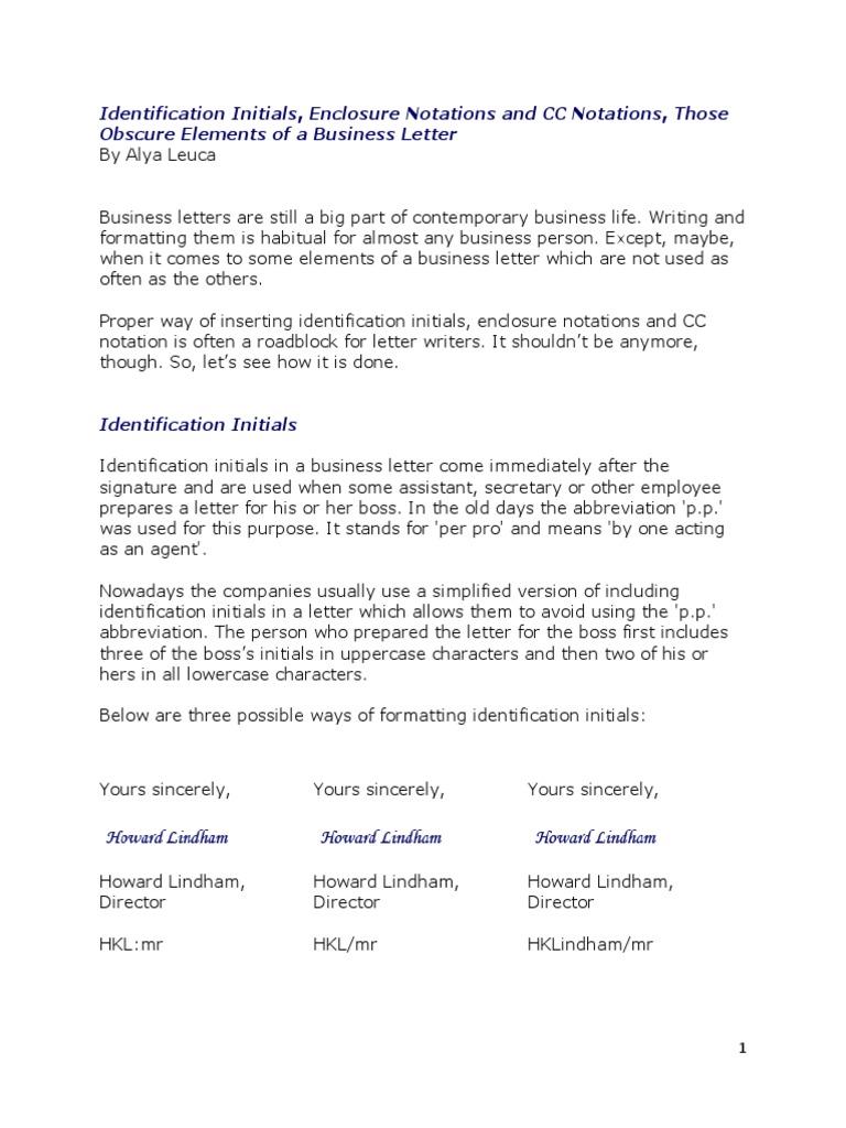 Identification Initials Enclosure Notations And CC