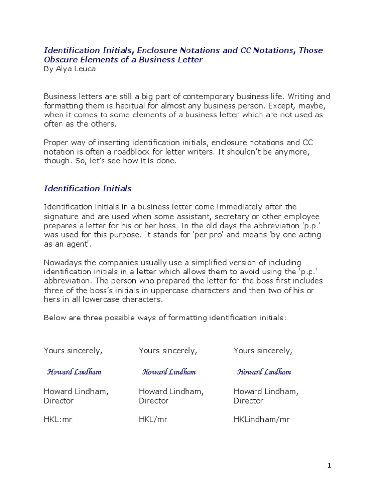 Identification initials enclosure notations and cc notations in a identification initials enclosure notations and cc notations in a business letter written communication writing thecheapjerseys Image collections