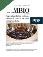04-06-2014 Diario Matutino Cambio de Puebla - Armonizar la ley político-electoral, uno de los retos del Congreso local.