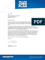 Ontario Progressive Conservative Party Reply to Mayor Jim Watson's questions.