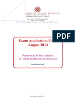 Exam Application Form August 2014