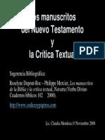 UCA Los Manuscritos y La Critica Textual