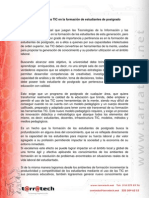 Implementación de Las TIC en La Formación de Estudiantes de Postgrado