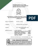 Estudio de la literatura oral y habla popular del municipio de Perquín, departamento de Morazán
