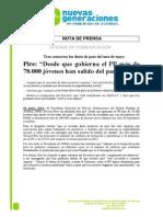 Nota de prensa NNGG Asturias sobre datos del paro de mayo. 04.06.2014