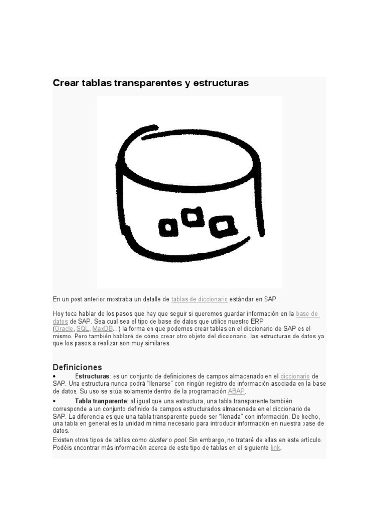 Crear Tablas Transparentes y Estructuras | Tabla (Base de