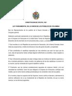 1821 Constitucion de Cucuta - Revolucion Bolivariana - Constituciones Politicas