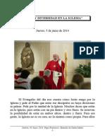 Jueves, 05 Junio 2014. Papa Francisco. Homilía de Santa Marta
