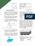 TRABALHO Piramide Cilindro Cone Esfera 3º