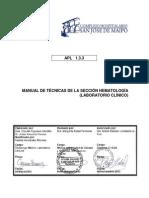 APL 1.3.3 Manual de Técnicas de Laboratorio Sección Hematología