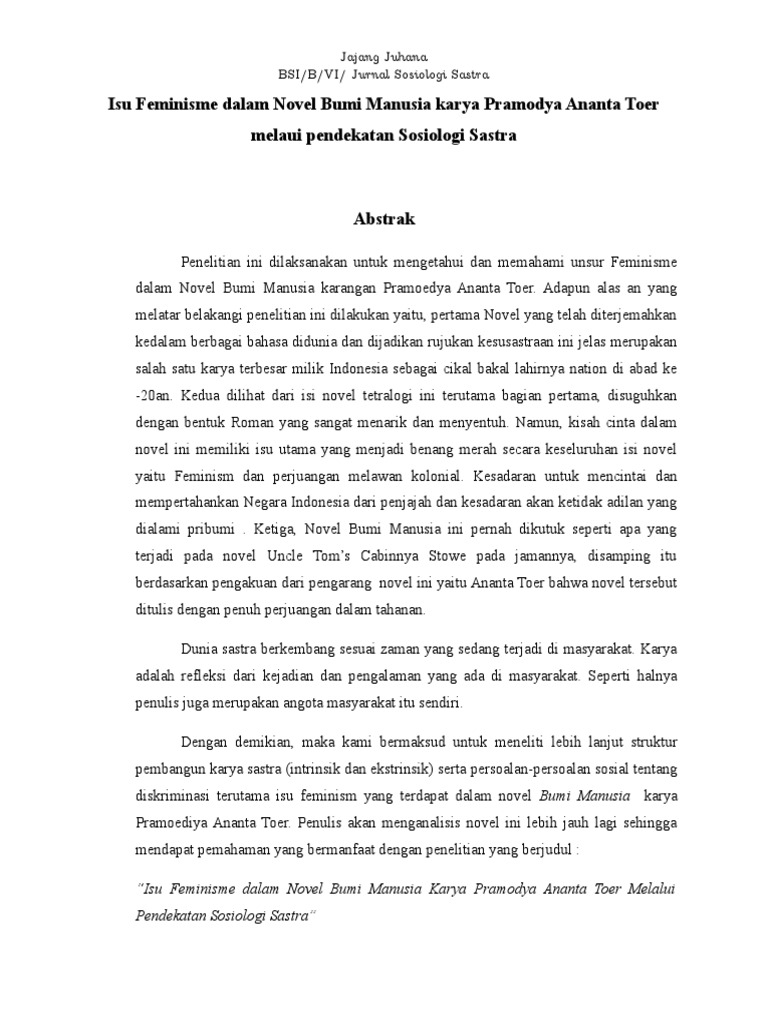 Skripsi Kajian Sosiologi Sastra Dalam Novel Kumpulan Berbagai Skripsi
