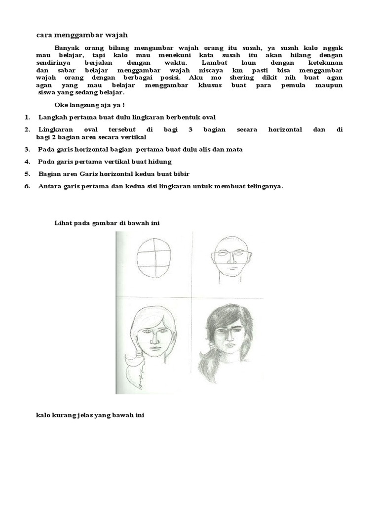 Cara Menggambar Wajah