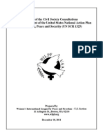 Report of the Civil Society Consultations on the Development of the United States National Action Plan on Women, Peace and Security (UN SCR 1325)