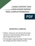 Densitas,Sand Content Dan Pengukuran Kadar Minyak Pada Lumpur